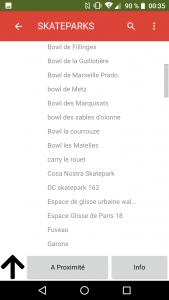 Skateparks Map Application Liste